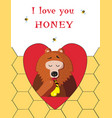 bear eating sweet honey inside of red heart on vector image