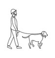 bearded gentleman man walking with dog outline vector image vector image
