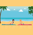 beautiful women sunbathe on the beach desing vector image vector image