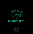 c letter cyber city vector image
