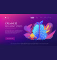 calmness and releasing stress concept landing page vector image vector image