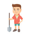 caucasian smiling boy holding a shovel vector image