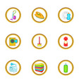 cleanup things icons set cartoon style vector image vector image