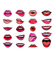 comic female lips set vector image