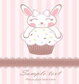 Cute bunny on cupcake card vector image