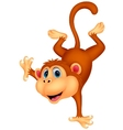 Cute monkey cartoon standing in its hand vector image vector image