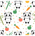 cute summer seamless pattern with little panda vector image vector image