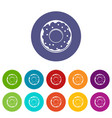 donut icons set flat vector image vector image