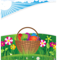Easter basket on the morning lawn vector image vector image