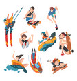 extreme sports set snowboarding surfing vector image vector image