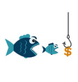 fishing with a dollar hook and fish vector image vector image