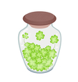 Fresh Four Leaf Clovers in A Jar vector image