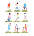 golf playing cartoon fun golfing players sport vector image