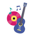 guitar and vinyl music festival on white vector image vector image