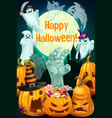 halloween pumpkins ghosts zombie hand candy vector image vector image