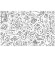 hand drawn investment set doodle background vector image