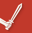 hand with sword symbol vector image vector image
