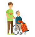 handicapped in wheelchair caring to senior vector image vector image