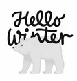 Hello winter holiday card with an hand drawn
