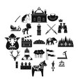horse icons set simple style vector image