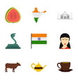 india icon set flat style vector image vector image