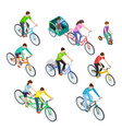 isometric people bike man woman riding bikes vector image vector image