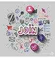 Join sign and collage with web icons background vector image vector image
