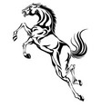 jumping horseblack white picture isolated on vector image