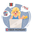 laptop online shopping cute girl credit card cyber vector image vector image
