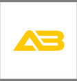 letter ab company linked logo yellow color vector image