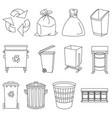 line art black and white trash element collection vector image