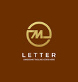 logo circle letter m gold color line art style vector image