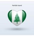 Love Norfolk Island symbol Heart flag icon vector image vector image
