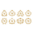 luxury monogram vintage crown logo golden vector image vector image