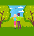 man and woman couple in love walking in city park vector image