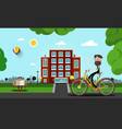 man on bicycle with building on background city vector image vector image
