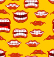 Mouth emotions seamless pattern Red lips ornament vector image