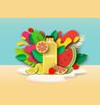 multifruit juice drink bottle fresh fruits vector image vector image