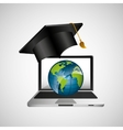 online education concept globe map graphic vector image vector image