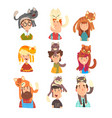 people with funny cats sitting on their heads set vector image vector image