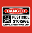 pesticide storage authorized only sign vector image vector image