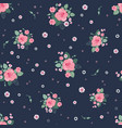 pink grey roses ditsy vintage seamless pattern vector image vector image