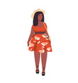 plus size woman flat curvy vector image