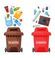 recycling garbage elements trash bags tires vector image vector image
