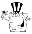 Royalty Free RF Clipart Patriotic Elephant Waving vector image vector image