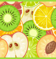 seamless pattern fruits slice apple kiwi peach vector image vector image