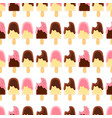 Seamless pattern with whole and bitten ice creame vector image
