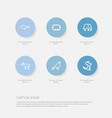 set of 6 editable zoo outline icons includes vector image vector image