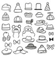 set of different black and white hats vector image