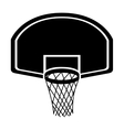 silhouette monochrome with rounded basketball hoop vector image